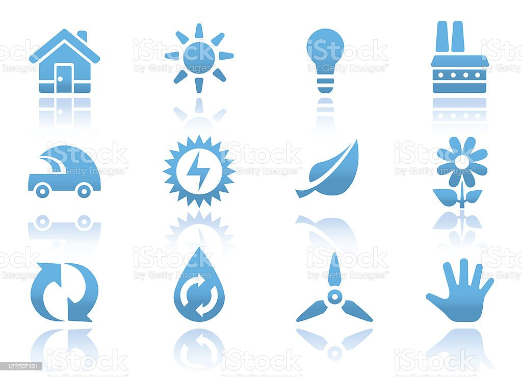 Eco icons | Blue reflected series royalty-free stock vector art