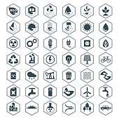 Eco icons. Flat vector cartoon illustration. Objects isolated on white background.