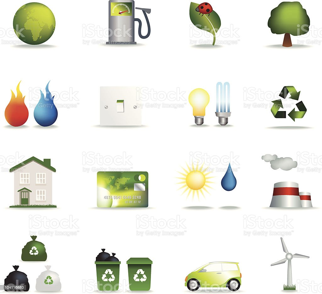 Eco icons realistic royalty-free stock vector art