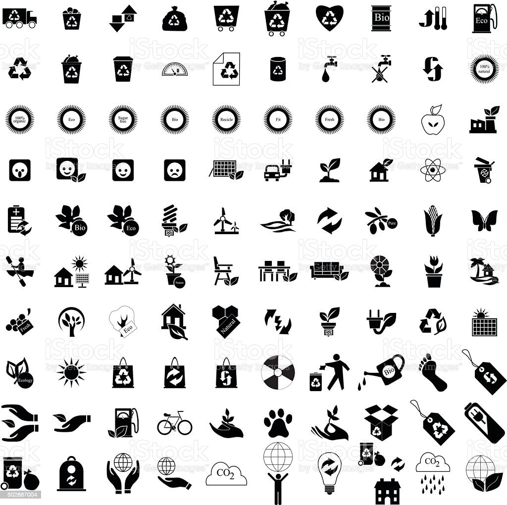 100 Eco icons set vector art illustration