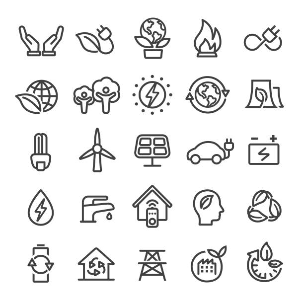 Eco Icons - Smart Line Series Eco, environmental conservation, sustainable energy stock illustrations