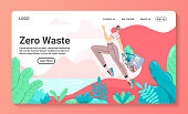 Eco internet shop concept. Background with durable and reusable items. Landing page template. Web banner. Girl with string bag with vegetables. Eco life. Flat cartoon