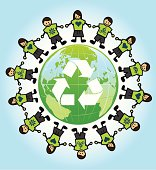 eco kids around the world with recycling symbol