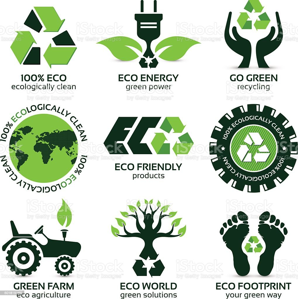 eco label and symbol set - Royalty-free Authority stock vector