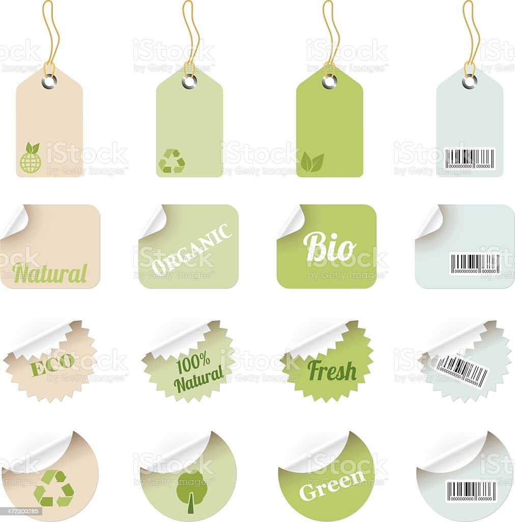 Eco Labels and Tags vector art illustration