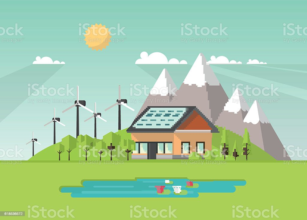 eco landscape flat design eco concept illustration of solar panel stock vector art 618536572. Black Bedroom Furniture Sets. Home Design Ideas