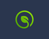 Eco leaves with letter O logo icon design