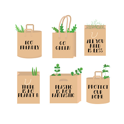 Eco lettering guotes on paper bag and leaves. Eco frendly, there is no planet B, go green, plastic is not fantastic, protect our home, all you need is less. Hand writing sign set isolated on white.