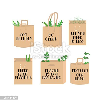 istock Eco lettering guotes on paper bag and leaves. Eco frendly, there is no planet B, go green, plastic is not fantastic, protect our home, all you need is less. Hand writing sign set isolated on white. 1284434607