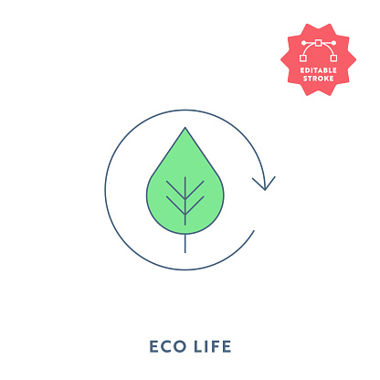 Eco Life Flat Icon with Editable Stroke and Pixel Perfect.