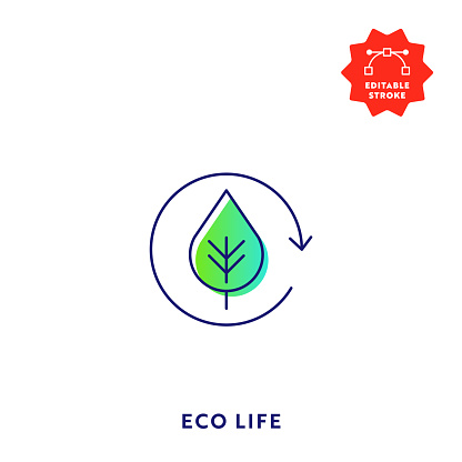 Eco Life Gradient Flat Line Icon with Editable Stroke and Pixel Perfect.