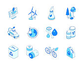 Eco lifestyle - modern line isometric icons set. Recycling, water conservation, energy saving concepts. Solar panel, wind turbines, cooling tower, forest, electric car, global warming, bicycle