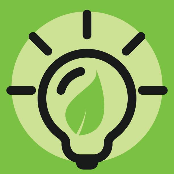 eco light bulb icon, green energy concept. vector art illustration