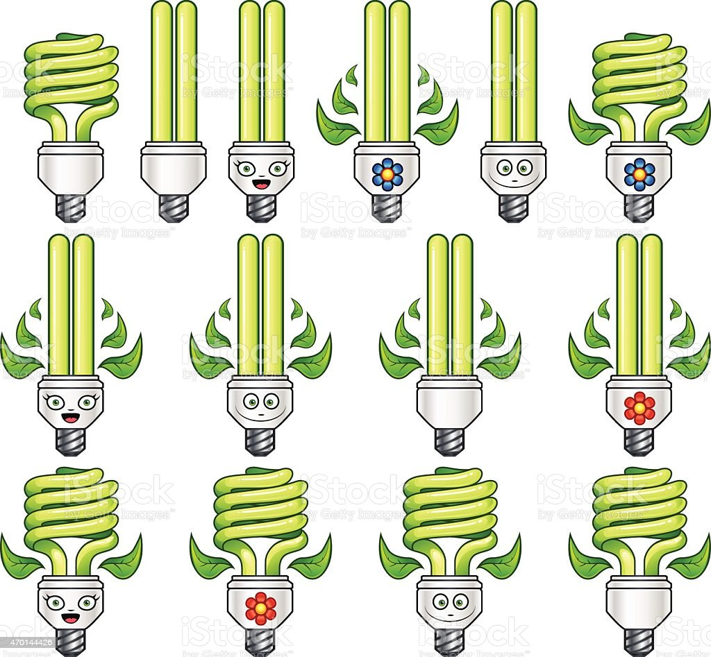 Eco Light Bulb Set vector art illustration