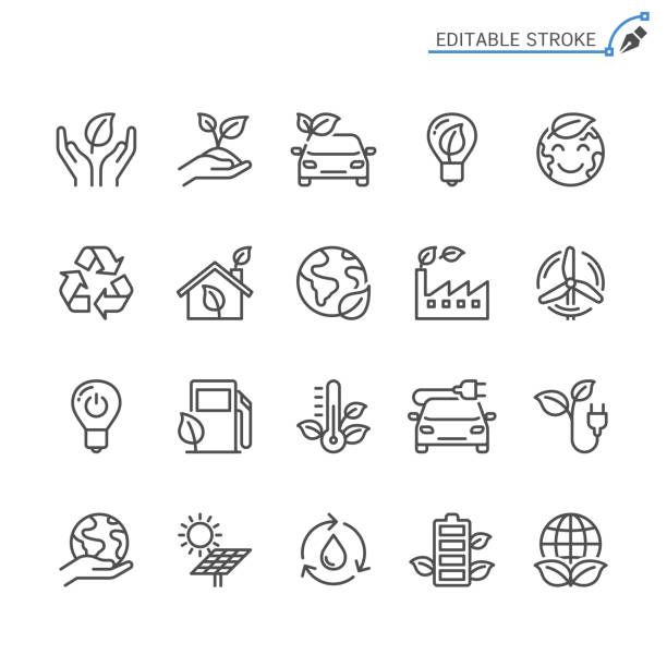 Eco line icons. Editable stroke. Pixel perfect. Simple vector line Icons. Editable stroke. Pixel perfect. sustainable energy stock illustrations