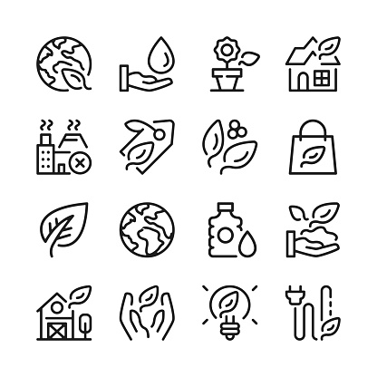 Eco line icons set. Modern graphic design. Thin line concepts. Simple linear outline elements collection. Vector line icons