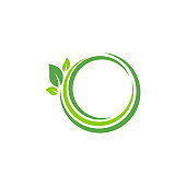 Eco logo and element of green leaf for Ecology friendly concept, Vector illustration