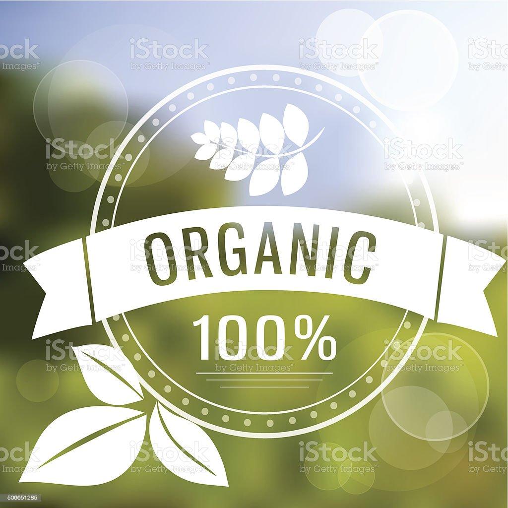 Eco logo on blured background vector art illustration
