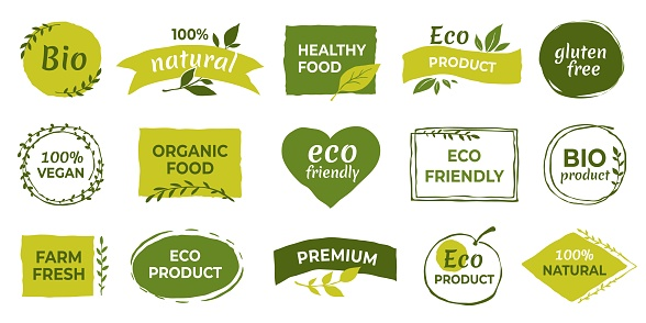 Eco logo. Organic healthy food labels and vegan products badge, nature farmed food tags. Vector gluten free and bio stickers