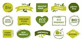 Eco logo. Organic healthy food labels and vegan products badge, nature farmed food tags. Vector design elements image gluten free and bio stickers or green tag natures quality