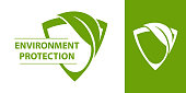 Eco design element. Eco logo with shield and leaf. Environment protection