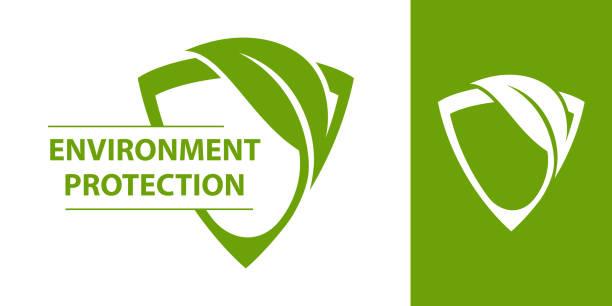 bildbanksillustrationer, clip art samt tecknat material och ikoner med eco-logotypen. sköld med blad - miljö