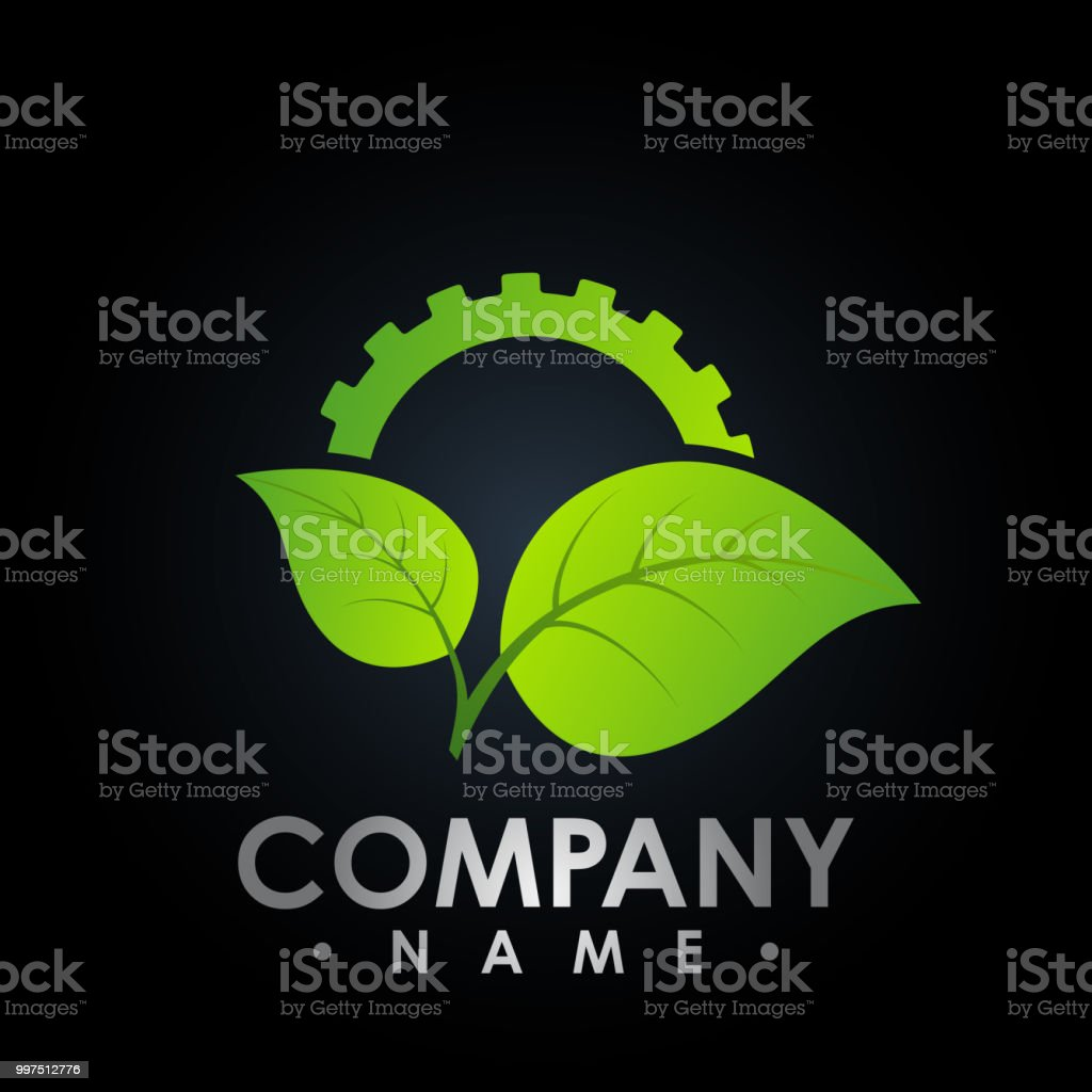 Eco logo with leaf and gear symbol, colored test tube with fresh green lea and gear logo, bio Eco logo vector vector art illustration