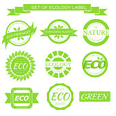 eco, nature, organic white label on isoleted green background concept