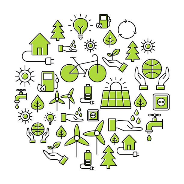 öko-öko-hintergrund - klimaschutz stock-grafiken, -clipart, -cartoons und -symbole