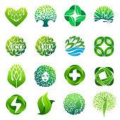 Eco, organic, bio icon set. Vector icon design for wellness, spa, pharmacy