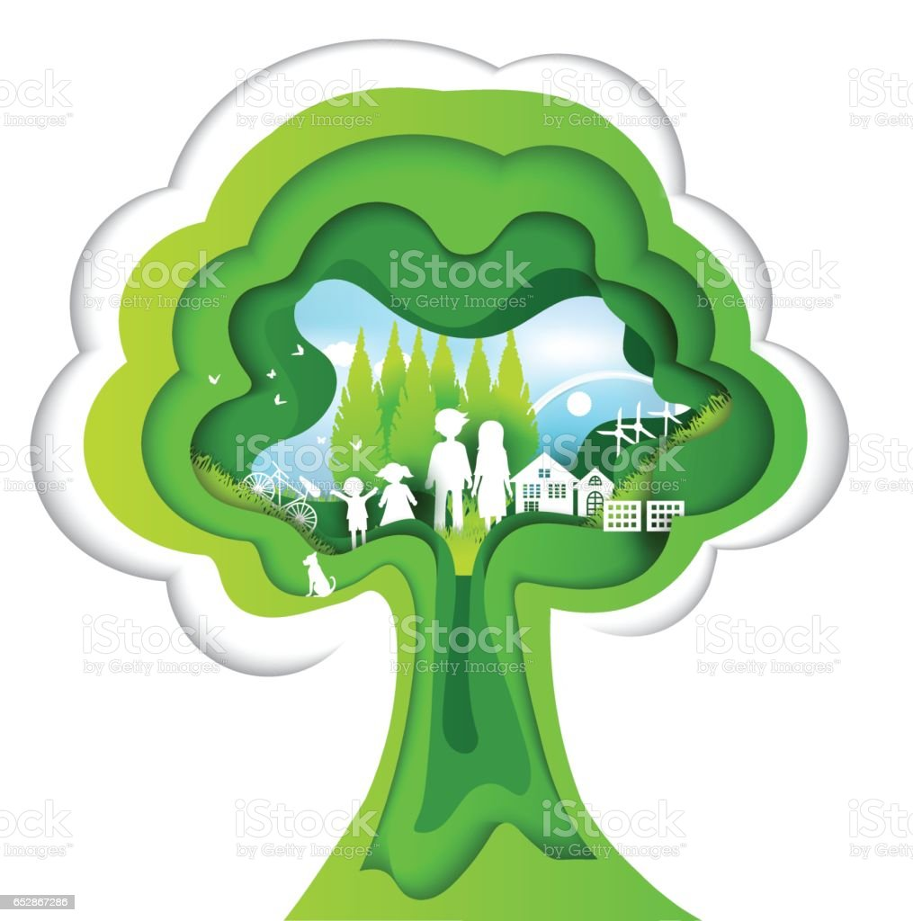 eco paper art design style, tree and family with nature vector art illustration