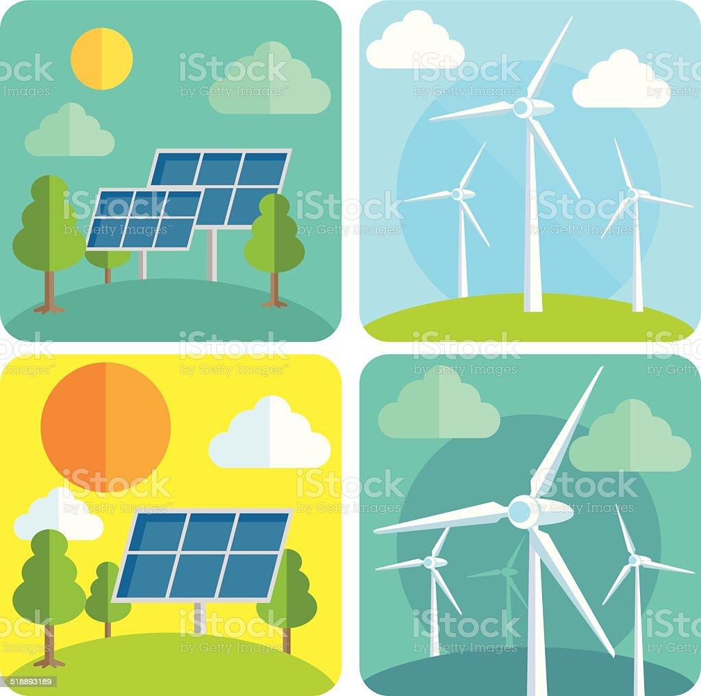 Eco power vector art illustration