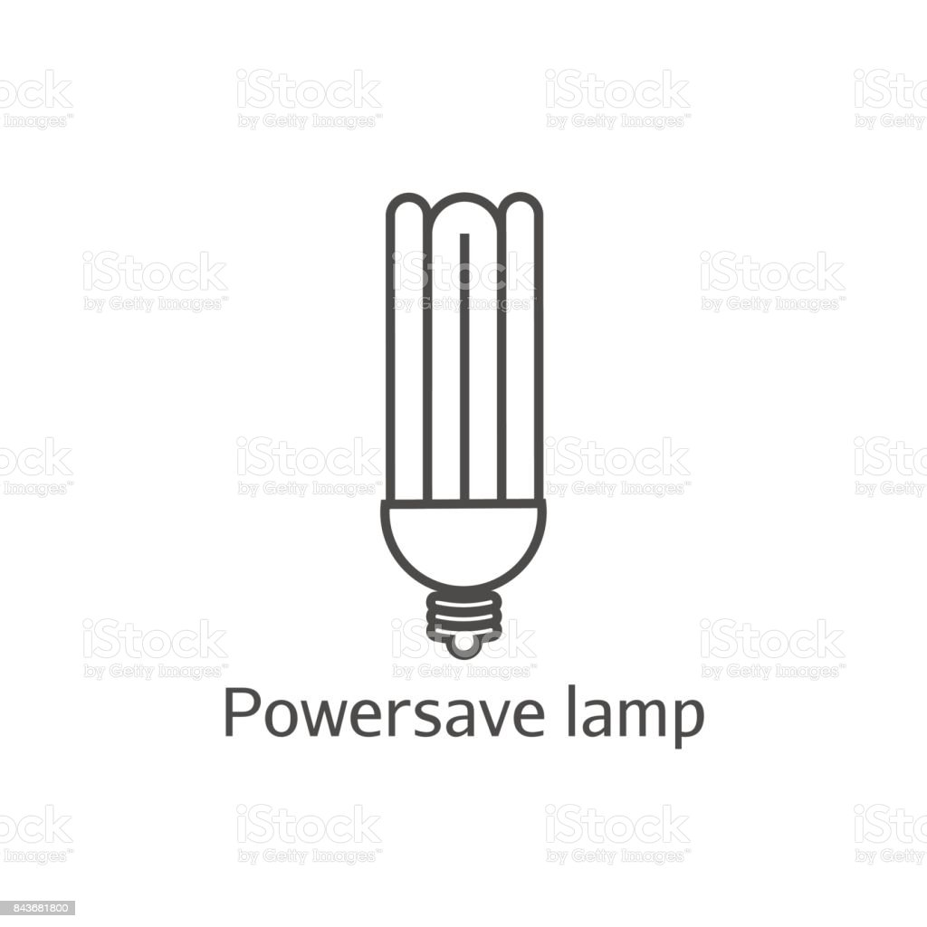 Eco powersave lamp line icon. Saving electricity concept. Ecology bulb saves electricity. vector art illustration