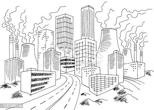 istock Eco problem city graphic bad ecology black white landscape sketch illustration vector 1287386740