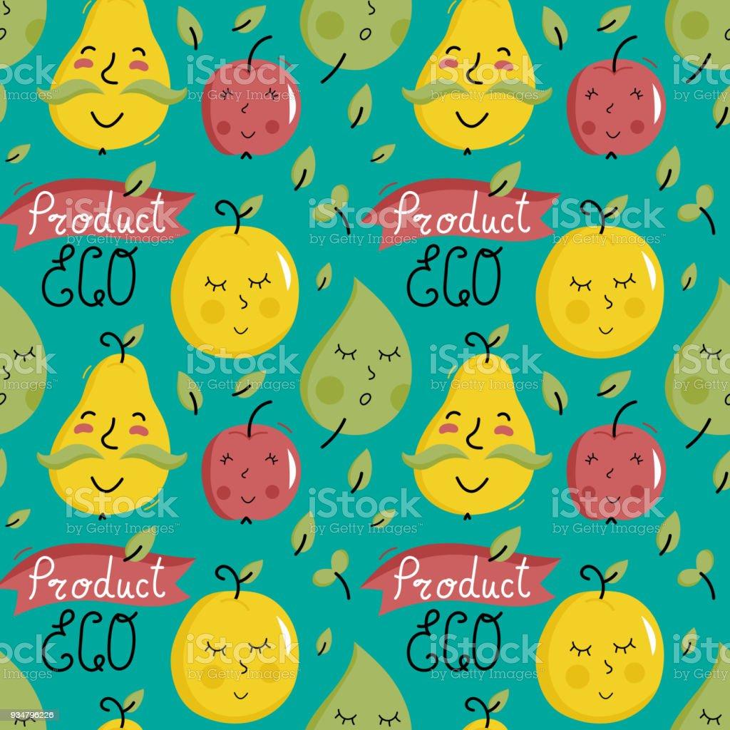 과일 캐릭터 에코 제품 완벽 한 패턴 - 로열티 프리 개념 벡터 아트