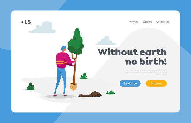 Eco Protection Landing Page Template. Volunteer Character Saving Nature, Ecological Issues, Global Warming, Environment Care and Day of Earth. Man Planting Tree in Garden. Cartoon Vector Illustration Eco Protection Landing Page Template. Volunteer Character Saving Nature, Ecological Issues, Global Warming, Environment Care and Day of Earth. Man Planting Tree in Garden. Cartoon Vector Illustration water wastage stock illustrations