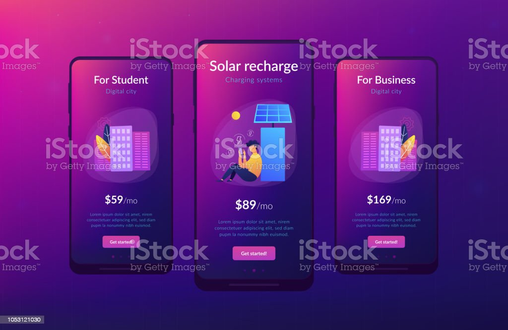 Eco Recharge Stations In Smart City App Interface Template Stock