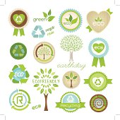 A collection of original eco green tags, symbols, icons, awards. Layered and groupped, high res. Jpg incl. Eps 10, transparency used, Cmyk vector.More: