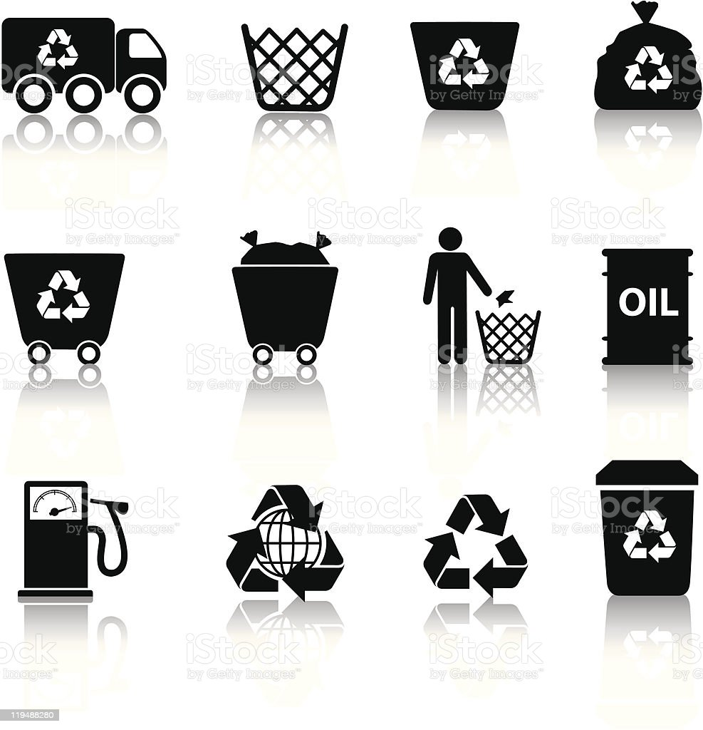 Eco recycling icon set in black silhouettes vector art illustration