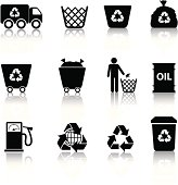 Eco recycling icon set in black silhouettes