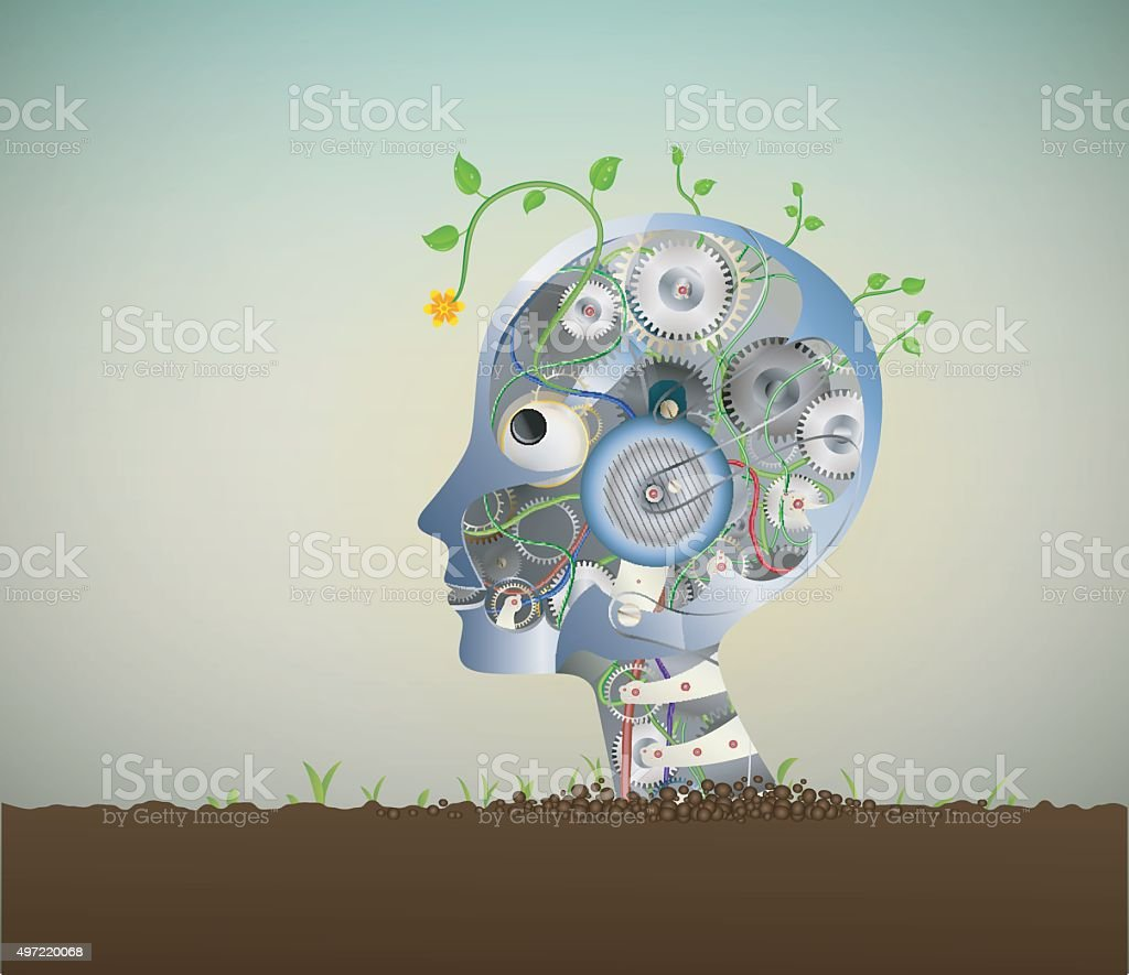 eco robot vector art illustration