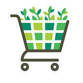 Green plants in the shopping cart. Files included: Vector EPS 10, HD JPEG 4000 x 4000 px