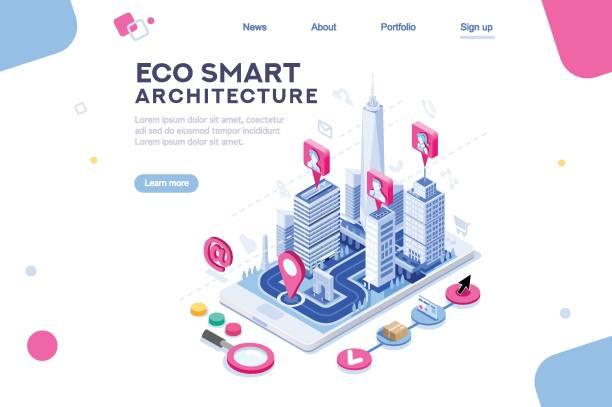ilustrações de stock, clip art, desenhos animados e ícones de eco smart city template for presentation - smart city