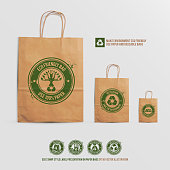 eco stamp style label presentation on paper bags
