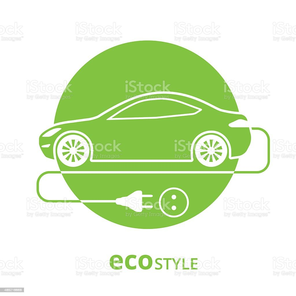 Eco style car vector art illustration