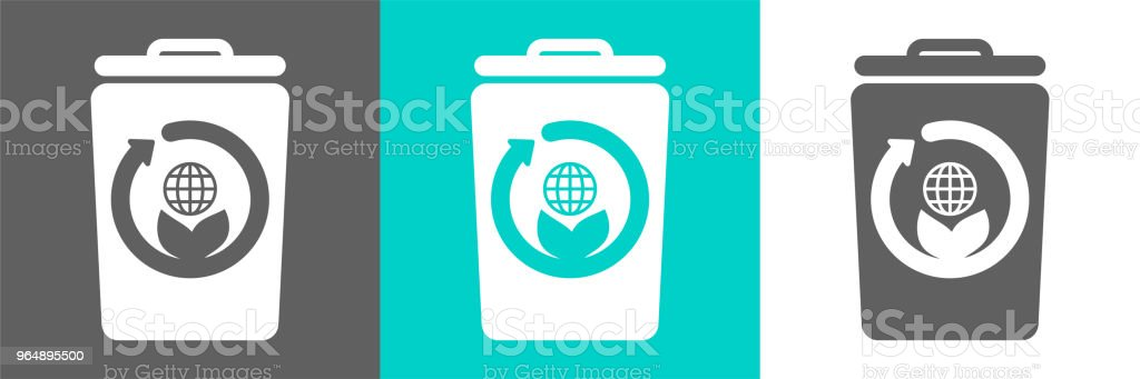 Eco style flat logo.Trash bin vector element with globe outline icon. royalty-free eco style flat logotrash bin vector element with globe outline icon stock vector art & more images of basket