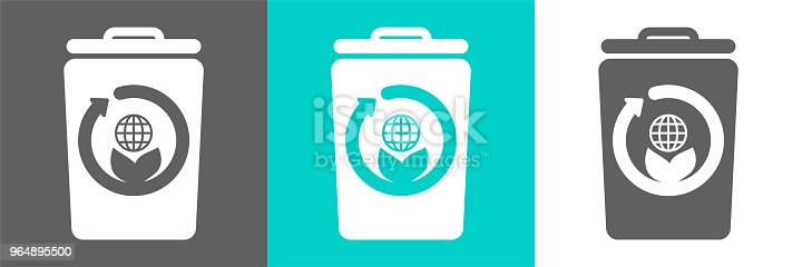 Eco Style Flat Logotrash Bin Vector Element With Globe Outline Icon Stock Vector Art & More Images of Basket 964895500
