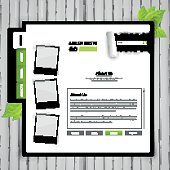 eco style vector web template on white wood board,