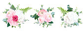Eco style wedding flowers vector design bouquets. Red rose, white and pink hydrangea, ranunculus, forest fern, eucalyptus, greenery. Floral border composition. All elements are isolated and editable