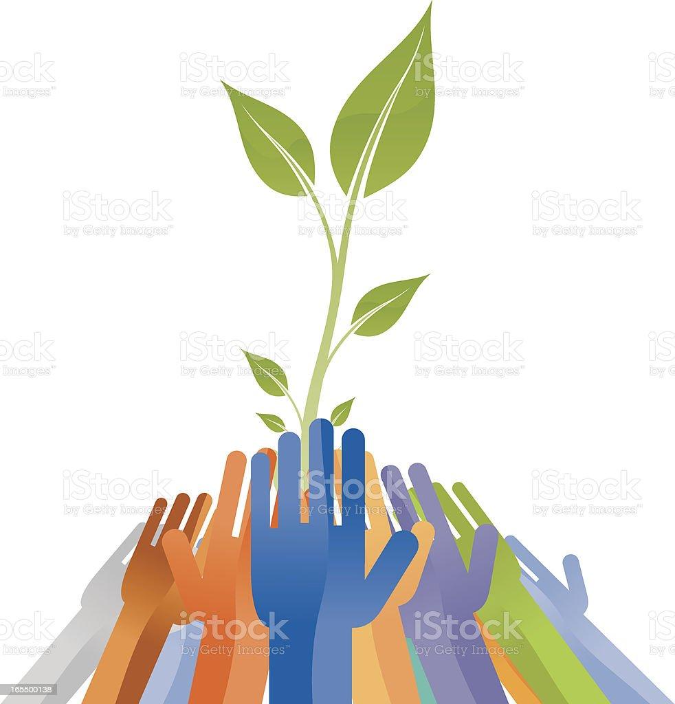 Eco team. vector art illustration